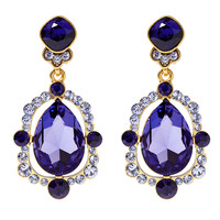 Oscar de la Renta Pear Cut Crystal Drop Earring - Purple Crystal Earrings - ShopBAZAAR
