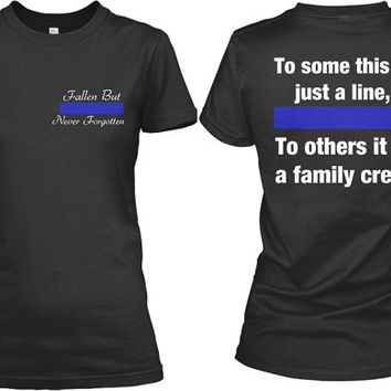 Thin Blue Line Screen Printed Fallen Officer Police LEO Cop Law Enforcement  Shirt Tee Womens and 5d3d117aa95