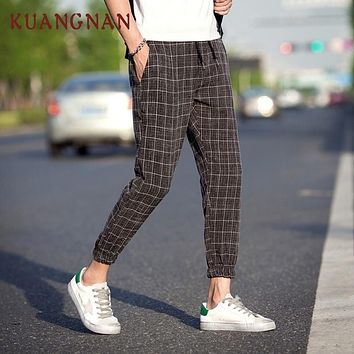 KUANGNAN Casual Plaid Pants Men Drawstring Streetwear Ankle-Length Harem Pants Men Joggers 5XL Men Pants Clothing 2018 Autumn