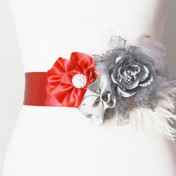 Bridal Couture - Wine Red Grey / Gray Lace Flowers Feather Sash Belt - Wedding Dress Flower Sashes Belts