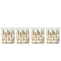 Culver Gold 22k Pineapple 11-Ounce Old Fashioned Glass (Set of 4)