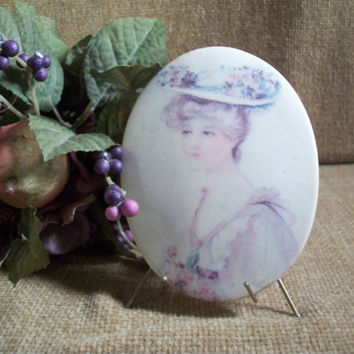 Victorian Woman's Portrait Oval Ceramic Lady in Flowered Hat Transferware Picture Metal Easel Stand Purple Flowers Romantic Boudoir Decor
