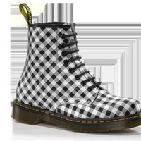 Dr Martens 1460 WHITE+BLACK GINGHAM SOFTY T - Doc Martens Boots and Shoes