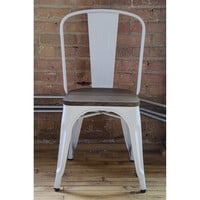 Amalfi Steel Stackable White Elm Wood Seat Side Chair Set of 4