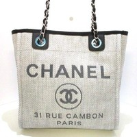 Auth CHANEL Deauville Line PM A66939 LightGray Black Raffia Grossgrain Leather