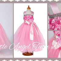 Pink Flower Girl Princess Dress - Diamonds, Bow, Ribbon and Flower Tutu Full Length Wedding Party Gown - Age 3-12y