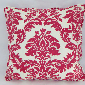 "Lipstick Red and Ivory Damask Print Throw Pillow 18"" Square Cotton Cover and Insert Included Ready Ship"