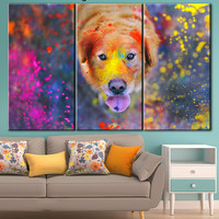 Pop art dog, Home Decor Animal Wall Art, Coloring canvas, Dog canvas, Canvas art, Extra Large Wall Art, Gallery wrapped, Wall art canvas