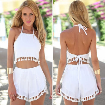 New Lady Women's Sexy Fashion Sleeveless Backless Tassel Halter Top And Shorts Two Piece Set
