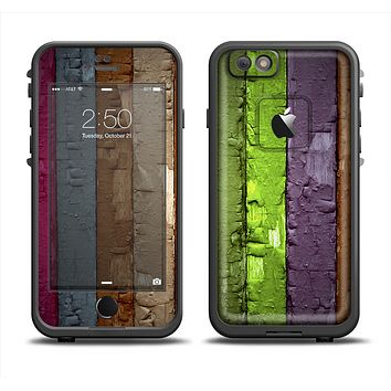 The Bright Colored Peeled Wood Planks Apple iPhone 6 LifeProof Fre Case Skin Set