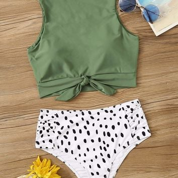 Knot Hem Top With Ruched Panty 2 Piece Swimsuit