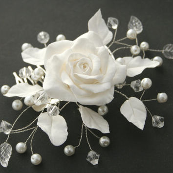 Bridal comb, Bridal flower comb, Bridal Hair flower, Bridal pearl comb, Wedding comb, Bridal hair accessory, Bridal headpiece, White rose