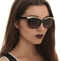Black And Gold Cateye Sunglasses