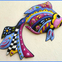 Metal Art - Painted Tropical Fish Metal Wall Hanging - Tropical Design - 24""