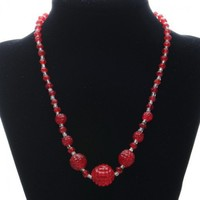 Vintage Red Raspberry Glass Bead Necklace