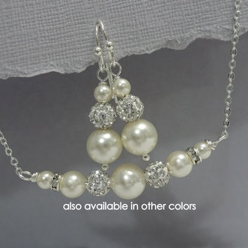 Bridesmaid Gift - CHOOSE YOUR COLORS -  Swarovski Ivory Pearl Bridesmaid Jewelry Set, Bridesmaid Jewelry Set, Mother of the Bride Gift