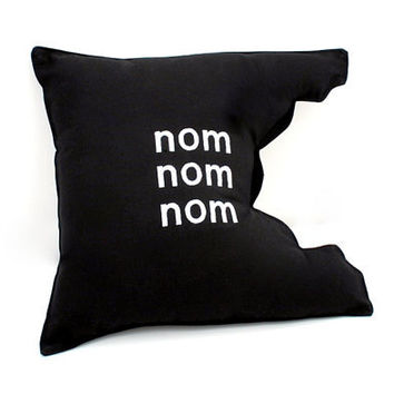 nom nom nom Pillow  Geeky Unique Funny by YellowBugBoutique