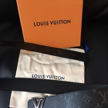 Brand New Mens Black Louis Vuitton Monogram Eclipse Reversible Belt