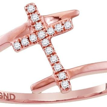 10kt Rose Gold Womens Round Diamond Bisected Cross Faith Ring 1/12 Cttw
