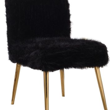 Tiffany Black Fur Accent Chair