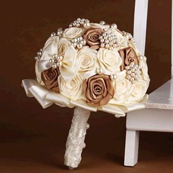 DCCKIX3 handmade Wedding bouquet lace flower silk pearl diamond Bride Hands Holding Rose Flower Wedding Bridal Bridesmaid Flower