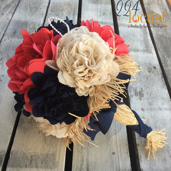 Coral and Navy Bridal Bouquet, Wedding Bouquet, Coral Fabric Bouquet, Wedding, Navy Fabric Bouquet, Rustic Wedding, Bride, Country Wedding
