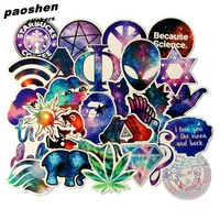 28pcs Cool Starry Sky Waterproof Stickers Classic Toys PVC Fashion Laptop Skateboard Suitcase Sticker Toy For Kids