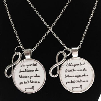 Best Friends 2 Necklaces Infinity She Believes In You Partners In Crime Gift Set