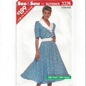 Butterick 3274 See & Sew Pattern for Misses' Dress, FACTORY FOLDED, UNCUT, From 1989, Size 16 to 24, Vintage Pattern, Home Sew Pattern, Easy