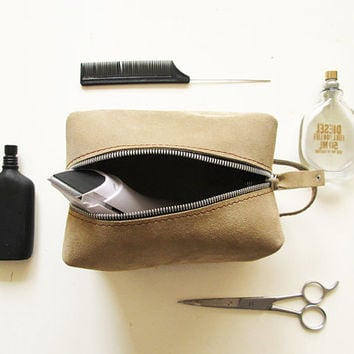 shaving bag, Toiletry Bag, Leather Dopp Kit, ashy beige, Travel bag, Leather, Groomsman gift, cosmetic bag, make-up bag, leather pouch