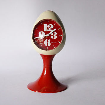 Rare Egg Shaped Vintage German Off White / Red Alarm Clock - Blessing 60s 70s