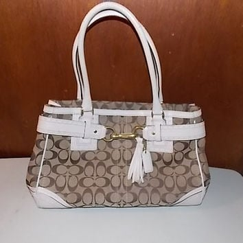 Vintage Coach Hamptons Signature Khaki Canvas & White Perforated Leather Large Bag Purse 10508
