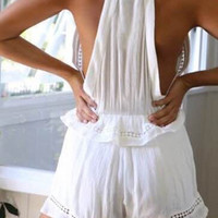 White Cut Out Sleeveless Romper