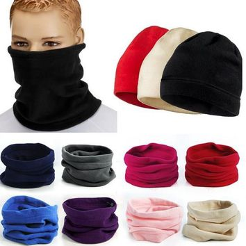 Polar Fleece Neck Tube Scarf Camping Hiking Headwear Beanie Hats Ear Warmer Gaiter Face Mask Headband Winter Thermal Warm Scarf