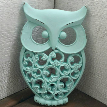 Mint Owl Wall Decor Hand Painted And Hand Distressed // Owl Home Decor // Owl Wall Decor // Housewarming Gift //