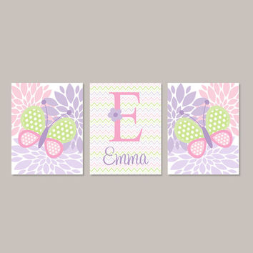 Baby Girl Nursery Decor Pink Lavender Violet Lilac Nursery Decor BUTTERFLY Monogram Name Set of 3 Prints Or Canvas Flower Nursery Chevron