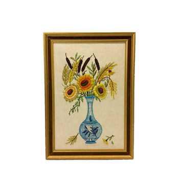 Vintage Crewel Floral Bouquet Framed Needlework Flower Picture Embroidery Blue Yellow Retro Kitsch Boho Shabby Cottage Chic Wall Art Decor