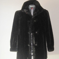 Vintage Faux Fur Mink Coat Jacket Dark Brown Size Medium MINCARA