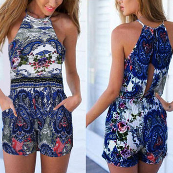 Brand Fashion Rompers Summer Women Short Jumpsuit Sexy Halter Sleeveless Off Shoulder Playsuits Casual Beach Overalls Plus Size