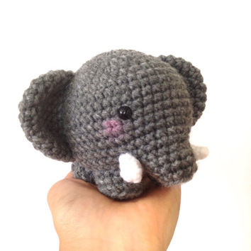 Chubby Elephant Plush Amigurumi Elephant Crochet  Elephant Stuffed Animals Crochet Doll Kids Toy Kawaii Elephant Softy Kids Gift