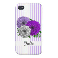 Pretty Purple Floral and Stripe Mix Design Covers For iPhone 4