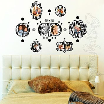 Picture Frame Wall Decal Zebra Print Cute Girls Room Animal Print Sticker PF1