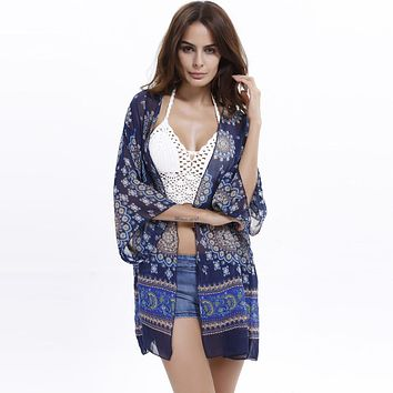 Womens Printed Chiffon Cardigan Beach Cover up