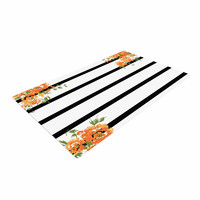"NL Designs ""Orange Floral Stripes"" Black Floral Woven Area Rug"