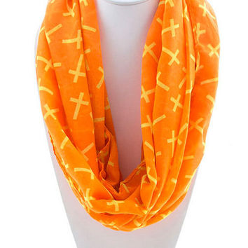 Crosses All Over Infinity Scarf - Orange