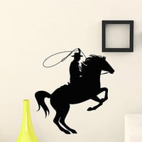 WALL DECAL VINYL STICKER ANIMAL PEOPLE COWBOY RIDING HORSE DECOR SB897