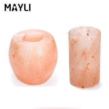 Glowing Attractive Air Purifying Night Lamp Crystal Himalayan Natural Salt Rock Night Light Night Lamp Tea Lights Candle Holder