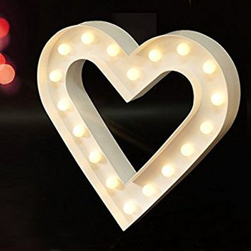 "BRIGHT ZEAL 12.5"" Large Romantic LED HEART Marquee Sign (WHITE, 6hr Timer) - Marquee HEART with Lights Love Sign Wedding Gift - Lighted Signs for Home Decor HEART Sign Decor -Light Up HEART Decoration"
