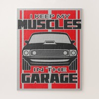 I Keep My Muscles In The Garage Muscle Car Red Jigsaw Puzzle