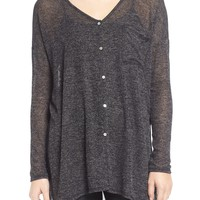 Lush Button Front Knit Tunic | Nordstrom